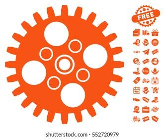 Cogwheel icon with free bonus design elements. Vector illustration style is flat iconic symbols, orange color, white background.