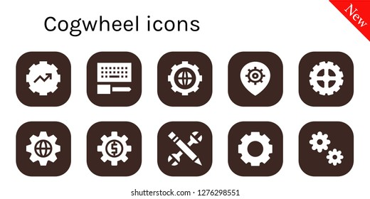 cogwheel icon set. 10 filled cogwheel icons. Simple modern icons about  - Gear, Configuration, Settings, Cogwheel
