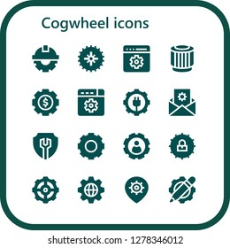 cogwheel icon set. 16 filled cogwheel icons. Simple modern icons about  - Cogwheel, Gear, Setting, Pulley, Settings