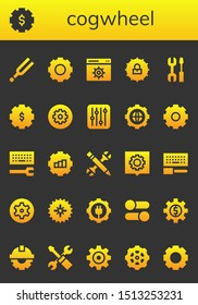 cogwheel icon set. 26 filled cogwheel icons.  Simple modern icons about  - Tuning, Gear, Settings, Configuration, Cogwheel