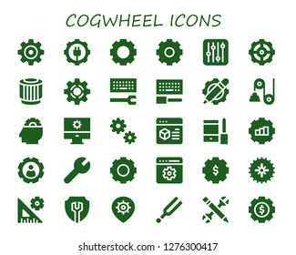 cogwheel icon set. 30 filled cogwheel icons. Simple modern icons about  - Settings, Gear, Pulley, Setting, Configuration, Cogwheel, Tuning
