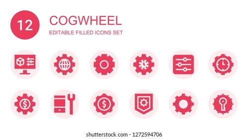 cogwheel icon set. Collection of 12 filled cogwheel icons included Settings, Cogwheel, Configuration