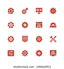 cogwheel icon set. Collection of 16 filled cogwheel icons included Configuration, Settings, Cogwheel, Setting