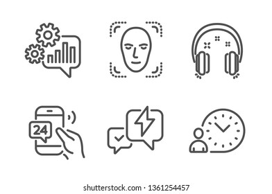 Cogwheel, Lightning bolt and 24h service icons simple set. Face detection, Headphones and Time management signs. Engineering tool, Messenger. Technology set. Line cogwheel icon. Editable stroke