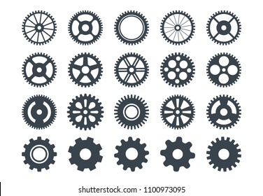 Cogwheel machine gear icon, set of gear wheels. Vector illustration, isolated.