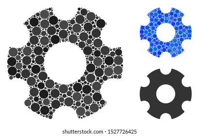 Cogwheel mosaic of spheric dots in various sizes and shades, based on cogwheel icon. Vector round dots are grouped into blue mosaic. Dotted cogwheel icon in usual and blue versions.