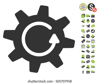 Cogwheel Rotation Direction icon with free bonus pictures. Vector illustration style is flat iconic symbols, eco green and gray colors, white background.