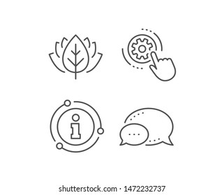 Cogwheel settings line icon. Chat bubble, info sign elements. Engineering tool sign. Cog gear symbol. Linear cogwheel settings outline icon. Information bubble. Vector