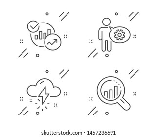 Cogwheel, Statistics and Thunderstorm weather line icons set. Seo analysis sign. Engineering tool, Report charts, Thunder bolt. Targeting chart. Science set. Line cogwheel outline icon. Vector