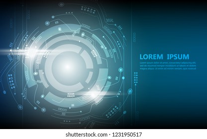 cogwheel technology circle concept. vector technology blue background.