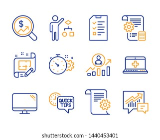 Cogwheel timer, Computer and Medical help icons simple set. Interview, Career ladder and Algorithm signs. Architect plan, Quick tips and Settings blueprint symbols. Line cogwheel timer icon. Vector