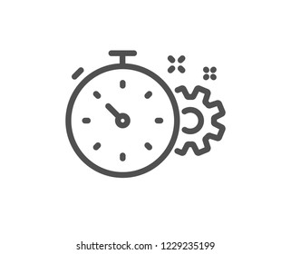 Cogwheel with timer line icon. Engineering tool sign. Cog gear symbol. Quality design flat app element. Editable stroke Cogwheel timer icon. Vector