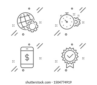 Cogwheel timer, Smartphone payment and Globe line icons set. Certificate sign. Engineering tool, Mobile pay, Internet settings. Verified award. Technology set. Line cogwheel timer outline icon. Vector