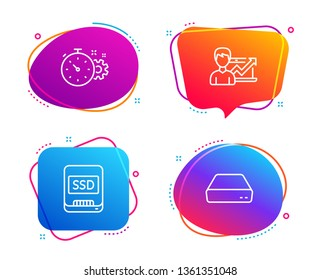 Cogwheel timer, Ssd and Success business icons simple set. Mini pc sign. Engineering tool, Memory disk, Growth chart. Computer. Science set. Speech bubble cogwheel timer icon. Vector