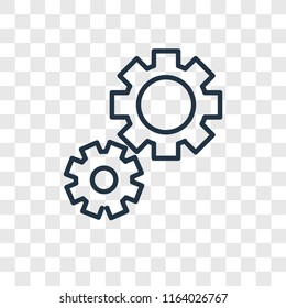 Cogwheel vector icon isolated on transparent background, Cogwheel logo concept