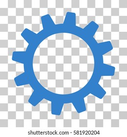 Cogwheel vector pictograph. Illustration style is a flat iconic cobalt symbol on a transparent background.
