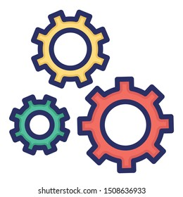 Cogwheels, configuration Isolate Vector icon which can easily modify color style or also edit the shape