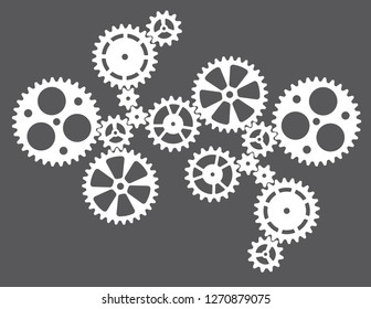Cogwheels gears connected system. Cooperation or teamwork concept or steampunk style mechanism.