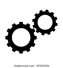 Cogwheels or gears icon. Connected cogwheels in working mechanism. Vector Illustration