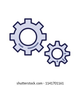 Cogwheels, settings icon. Line colored flat vector illustration. Isolated on white background.