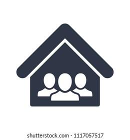 Cohabitation concept - Vector web icon. Vector illustration