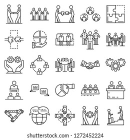 Cohesion icon set. Outline set of cohesion vector icons for web design isolated on white background