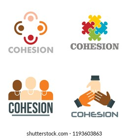 Cohesion logo set. Flat set of cohesion vector logo for web design