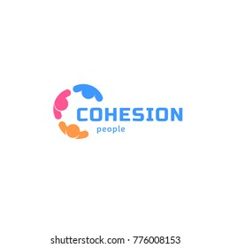Cohesion people, abstract isolated vector logo. Colorful business identity.