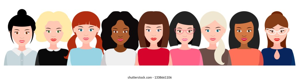 cohesive group of smiling women, social movement, empowerment of women. concept of feminism, power girls. Vector illustration.  Women's team together.