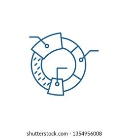 Cohort analysis line icon concept. Cohort analysis flat  vector symbol, sign, outline illustration.