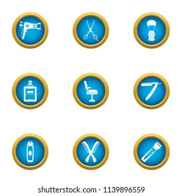 Coiffeur icons set. Flat set of 9 coiffeur vector icons for web isolated on white background