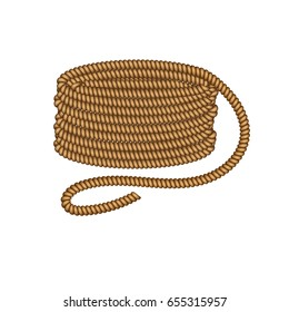 Coil of dynamic sailor rope. Isolated simple object on white background. Graphic design vector element.