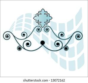 coil fleur de lis and squares banner