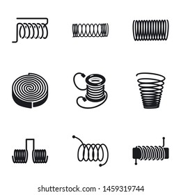 Coil icon set. Simple set of 9 coil vector icons for web design isolated on white background