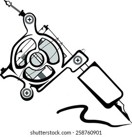 Coil tattoo machine isolated on white