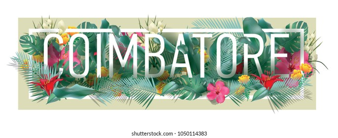 coimbatore City Typographic Floral Framed Vector Card Design