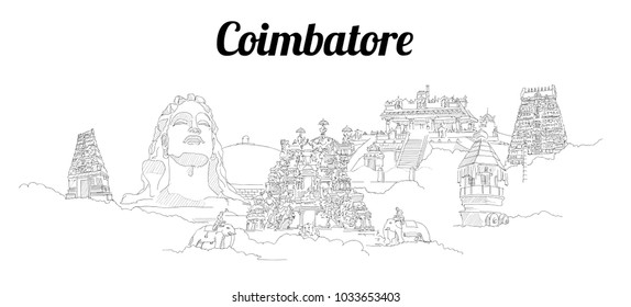 Coimbatore city vector panoramic hand drawing sketch illustration