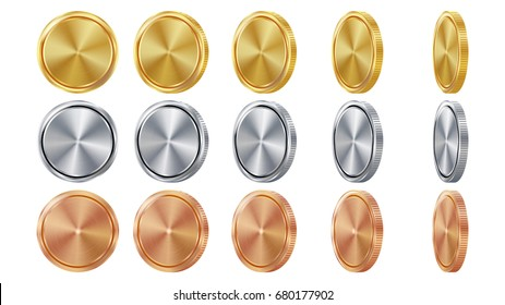 Coin 3D Gold, Silver, Bronze Vector. Coin Blank Set. Realistic Template. Flip Different Angles. Investment, Web, Game App Interface Concept. Coin Icon, Sign, Banking Cash Symbol. Currency Isolated
