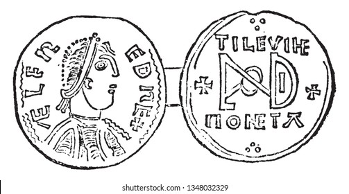 Coin of Alfred the Great ruled the Kingdom of Wessex for almost two decades towards the end of the 9th century, vintage line drawing or engraving illustration.