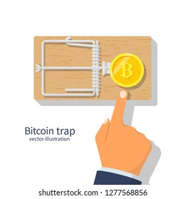 Coin bitcoin in a mousetrap. Money trap crypto currency.  Blockchain cryptocurrency. Mousetrap with golden coin. Hand reaching for free money. Vector illustration flat design. Financial bait.