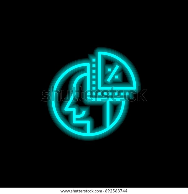 Coin blue glowing neon ui ux icon. Glowing sign logo vector