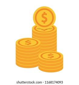 Coin cartoon vector. free space for text. wallpaper.