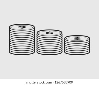 Coin or currency on money line icon on gray background.
