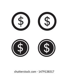 coin dollar icon vector illustration logo template