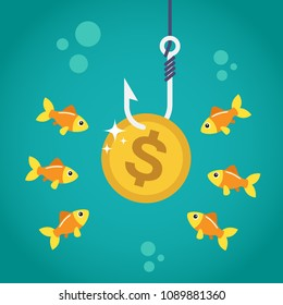 Coin dollar on fishing hook and hungry fishes in temptation to catch a dollar. Money trap concept. Vector illustration
