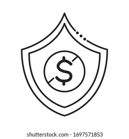 coin dollar in shield line style icon vector illustration design