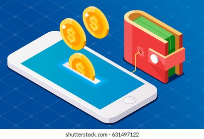 Coin drop in phone. Wallet connect to phone. Isometric illustration.