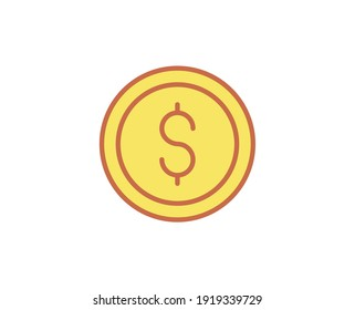 Coin flat icon. Single high quality outline symbol for web design or mobile app. Coin thin line signs for design logo, visit card, etc. Outline pictogram EPS10