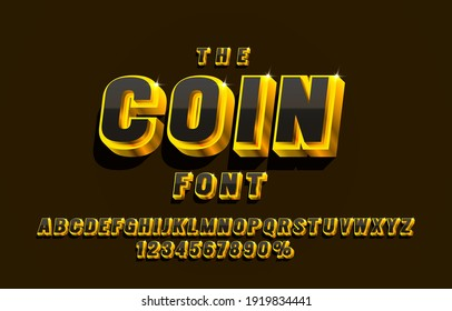 Coin font set collection, letters and numbers symbol. Vector illustration
