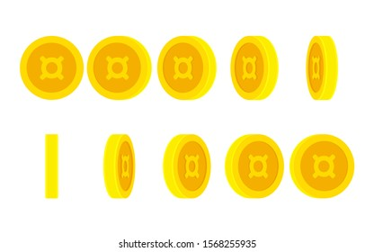 Coin with generic currency symbol rotating. Vector sprite sheet isolated on white background. Can be used for GIF animation